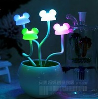 Free shipping Mickey MOUSE bonsai small night light/ colorful Mickey MOUSE potted light child infant bed-lighting