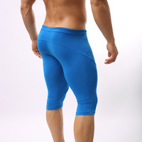 New Arrival!! Sexy Men's Nylon Spandex Elastic Sports Tights Gym Biking Swimwear Runner Workout Jammer Leggings Biker