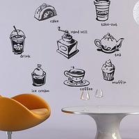 Milk tea pastry wall stickers sticker personalized food wall stickers