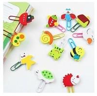 Free shipping120pcs/lot Korean stationery cartoon wood Paperclip notes decorative Mini cartoon wooden clips