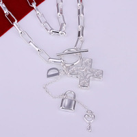 Free Shipping 925 Silver fashion jewelry Necklace pendants Chains, 925 silver necklace Cross Necklace xylv sfft