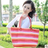 Bag fashion bag casual shoulder bag handbag color block stripe women's handbag large capacity beach bag
