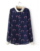 free shipping Fashion inlay color printed lapel long-sleeved shirt ft871
