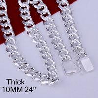 925 Silver fashion jewelry Necklace pendants Chains, 925 silver necklace 10mm Square Lock Necklace - 24 inches svtt iyrm