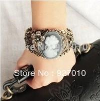 Min order is $10(mix order) luxury maria sculpture cutout beauty head portrait bracelet hand ring jewelry women bangles