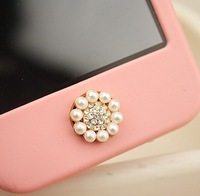 wholesale Free shipping 6pcs/lot Home Button full pearl sexy sticker diy mobile phone decoration for IPONE 5 iPad iTouch