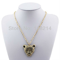 Free shipping OL Style Pendant Necklace 18K Gold Plated Full Crystal Hollow Leopard Head Sweater Chain DP279