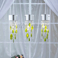 free  shipping  Artistic Crystal Pendant Lights with Green Decorations G4 Bulb Base