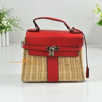 Magazine rattan bag straw bag rattan bag messenger bag padlock ladder women's handbag beach