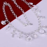 Free Shipping 925 Silver fashion jewelry Necklace pendants Chains, 925 silver necklace 13 Pendants Necklace ohbd gpnc