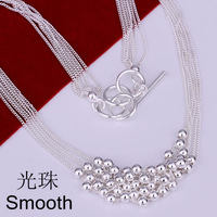 Free Shipping 925 Silver fashion jewelry Necklace pendants Chains, 925 silver necklace Smooth Ball Necklace zpzt kykq