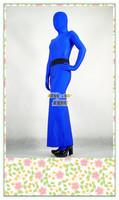 [Moli's fashion series blue lycra tights] Lycra high-slit evening dress with belt