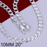 Free Shipping 925 Silver fashion jewelry Necklace pendants Chains, 925 silver necklace 10mm Flat Necklace dvrm txaq