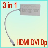10pcs/lot 3 in 1 Mini DisplayPort Cable 1.1 version 1 to HDMI DVI DP Adapter for Mac,Max Resolution of 2560 x 1600,Free Shipping