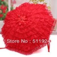 Bridal umbrella red umbrella long-handled umbrella hook lace princess red umbrella,