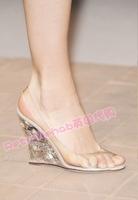 Transparent 2013 wedges sandals open toe women's shoes Warren rivets high-heeled valentin