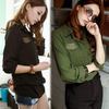 Women Long Sleeve Rivets Decor Fake Pockets Chiffon Casual Slim Shirt Blouse Tops # L0341076