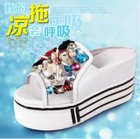 2013 gauze wedges platform women's shoes genuine leather rhinestone elevator slippers platform slippers
