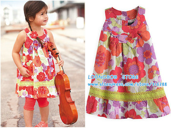 2013 summer baby girl   Dress floral print Children  beach dress 100% cotton  UK designs choose 1-6T free shipping