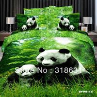 High Quality 100% Cotton Animal Print Chinese Treasure Cute Panda Bedding Bed Linen Doona Duvet Covers Set 4pcs Full Queen,Green