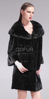 Luxury Women Genuine Black Long Thick Rex Rabbit and Mink Fur Coat women Winter Warm Outwear Three Quarter Sleeve (QD27561A)