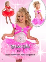 Pink Organza Cupcake Little Girls Pageant Dress Ball Gown beaded two color ruffled girls dress JY2105