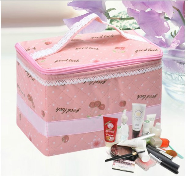 Min Order $15 ,2013 Cosmetic Storage Box Container Bag Case Folding Waterproof Makeup Bag Cosmetic Cases ,Pink Handbag(China (Mainland))