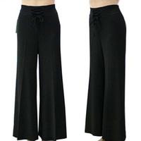 summer pants thin quinquagenarian women's high waist boot cut trousers women's culottes elastic waist free shipping
