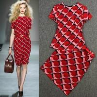 Free  shipping 2013 summer fashion ruslana korshunova set vintage print twinset dress one-piece dress female