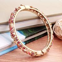 Cloisonne bracelet female fashion gold plated vintage crystal bracelet cutout enamel