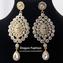 12 Design Fashion High Quality Gold Plated Rhinestone Alloy Indian Style Big Bridal Drop Earring Wedding Jewelry FREE SHIPPING(China (Mainland))