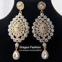 2013 Fashion High Quality Gold Plated Rhinestone Alloy Indian Style Big Bridal Drop Earring Wedding Jewelry FREE DROP SHIPPING