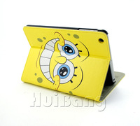 Cheap Sale Cute Lovely Cartoon Baby Spongebob Ultra Slim Flip Stand Leather Case Smart Cover For Apple Ipad Mini Skin Bags PT85