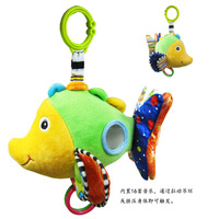 free shipping Babyfans plush animal lovely bed bell with 16 songs stuffed gift baby toy - fish