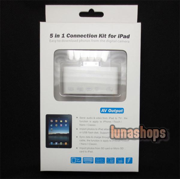 5 in 1 USB Camera Connector Kit Micro/SD Card Reader Adapter For iPad(China (Mainland))