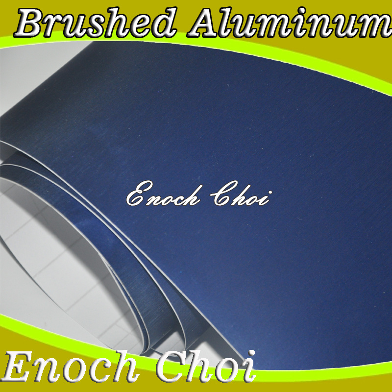 Wholesale - Brushed Aluminum vinyl, brushed blue car wrap vinyl film with air bubble free ,size:1.52m*30m/roll,Freeshipping(China (Mainland))