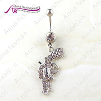 2013 Surgical Steel Stud fashion navel piercing, 007 series compact pistol sparkly rhinestone   dq088