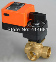 Three way 3/4'' T type proprotion valve AC/DC24V 0-10V modulating on/off valve for flow regulation or on/off control