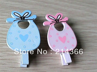 Free shipping(28pcs/lot) baby bid  wooden clip  baby shower pink & blue color with clip for party decoration