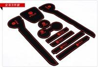 Red Car Door dash Mat Cup Mat Door Tank Pad non slip anti slip  9pcs  for  VW Volkswagen polo Typ 6R 2009 2010 2011 2012 2013