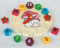 Free Shipping Baby Toys Wooden Clock Digital Geometry Clock Toys Best Gift For Children 1pcs