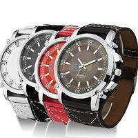 Luminous Men Watches  Male Faux Leather Oversized Quartz Hands Wrist Watch Vintage Style Wristwatch 1J7D