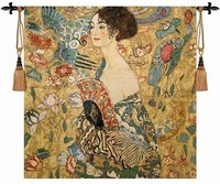 The world famous paintings Klimt holding fan dress women picture decor wall hanging tapestry big 134X 134cm home textile custom