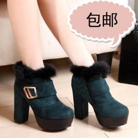 Ultra thick heel high heels snow boots fashion ankle boots rabbit fur boots vintage slip-resistant martin boots