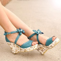 Summer new arrival 2013 sandals platform platform shoes bow cross lacing women's wedges shoes