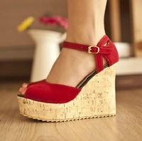 Fashion comfortable platform wedges high-heeled sexy open toe sandals button women's shoes