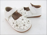 Spring and autumn white pearl flower child single shoes slip-resistant sound shoes genuine leather children shoes female child