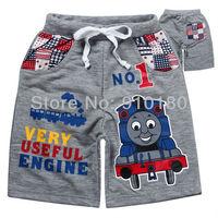 Free shipping 6pcs/lot baby cartoon boys tomas train 100% cotton shorts kids summer clothing