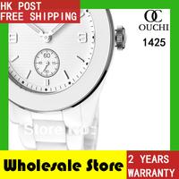 HK Post Free Shipping quartz fashion casual women watch water resistant ceramic white womens wrist watches AR1425 gift box