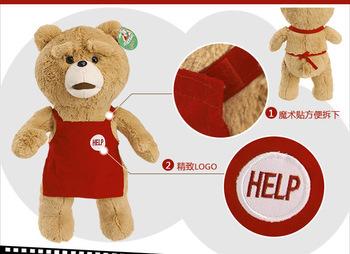 "Original ! New 18""Teddy Bear Ted The Movie style Plush Dolls ted bear with apron Man's Stuffed Plush toys bear High quality 50cm(China (Mainland))"